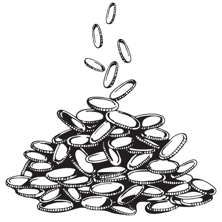 earn money: Pile of money or coins. Capital. How to earn first million. Isolated Illustration. Currency icon. Earn money on the Internet. Vector Money.