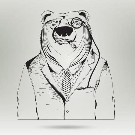 oso negro: Icono del usuario del hombre en traje de negocios. Empresario silueta en el vector. Car�cter inconformista Animal. Hand Drawn Ilustraci�n del oso del inconformista con traje y corbata