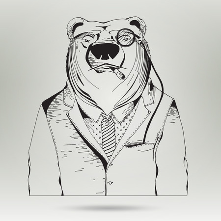 bear market: User icon of man in business suit. Businessman outline in vector. Hipster Animal character. Hand Drawn Illustration of Bear Hipster in suit and Necktie