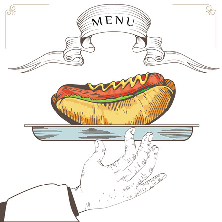 serve: Hot dog menu design. Element for an restaurant with the hand of a waiter carrying a tray. Loaded with an Hot dog on white background. Serve food. Eps 8