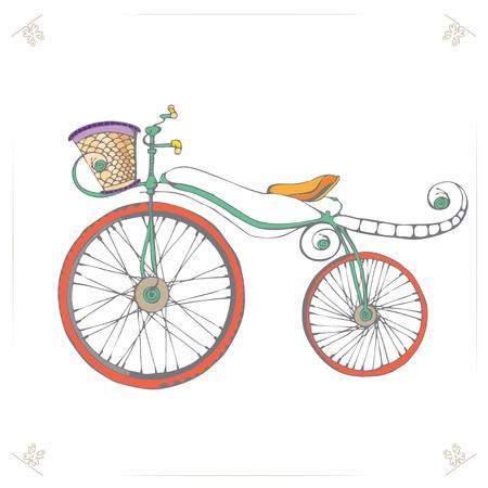 bicicleta retro: Bicicletas retro vintage. Ilustraci�n del vector de la historieta de la diversi�n de la bicicleta. Icono de bicicletas. Bicicleta en el fondo aislado. Eps 8