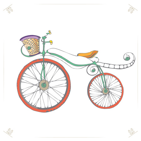 bicycle pedal: Vintage Retro Bicycle. Vector illustration of Cartoon fun Bicycle. Bicycle Icon. Bicycle on Isolated background. Eps 8