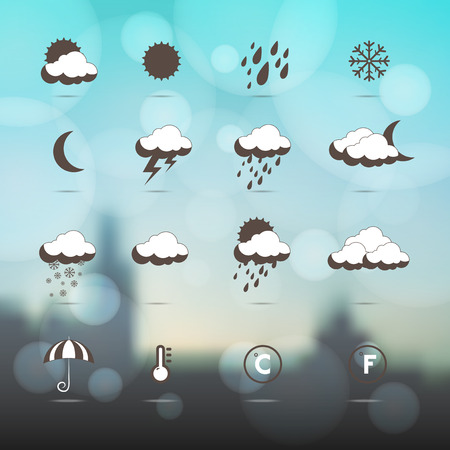 Weather icons.  Weather symbol. Set as labels - vector. Industrial background. Weather forecast. Winter. Blurred or Mesh background Vector