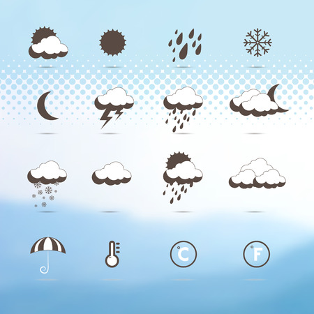 Weather icons.  Weather symbol. Set. Industrial background. Weather forecast. Winter. Blurred or Mesh Mountain background. Abstraction Vector