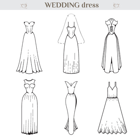 medieval dress: Wedding dress Set. Medieval dress. Clothing for celebration. Dress for Marriage. Graphics style. Outline image. Greeting Card. On Isolated background. EPS 8