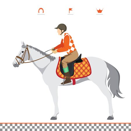 thoroughbred horse: Derby. Deporte ecuestre. Ilustraci�n de caballo. Vector. Caballo de pura sangre. El deporte de los reyes. Caballo con jinete