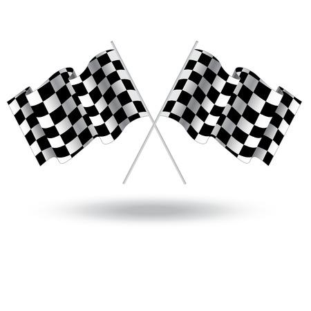 bandera carreras: Bandera a cuadros de carreras de coches. Ilustración aislada en el fondo blanco. Dos bandera Finalizar. Indicador de la raza. ilustración de meta. Ondeando la bandera a cuadros