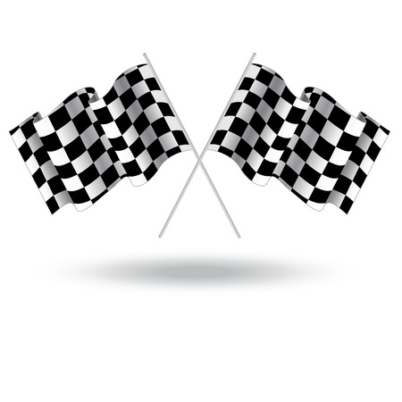 racing checkered flag crossed: Checkered flag for car racing. Illustration isolated on white background. Two Finish flag. Race flag. finish illustration. Waving Checkered flag
