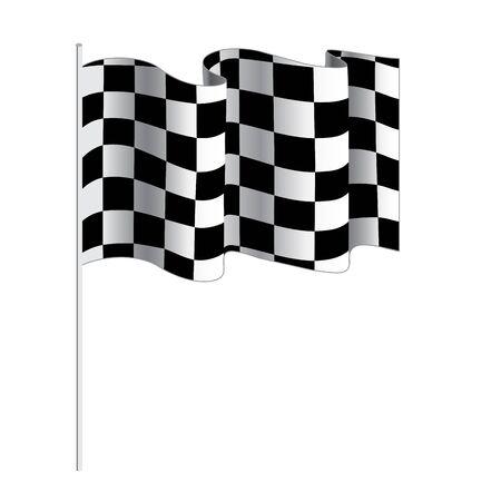bandera carreras: Bandera a cuadros de carreras de coches. Ilustración vectorial aislados en fondo blanco. Bandera Finalizar. Indicador de la raza. ilustración de meta. Ondeando la bandera a cuadros vectorial