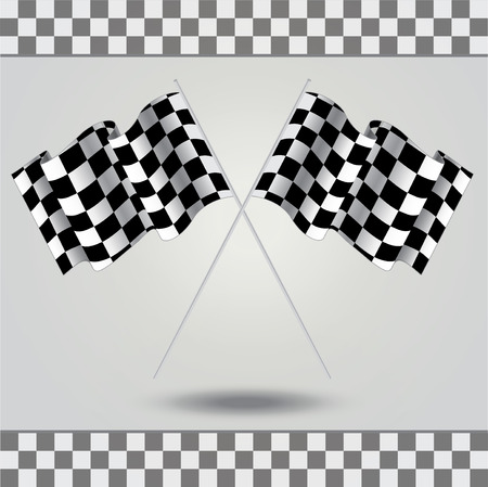racing checkered flag crossed: Checkered flag for racing. Vector. Two Finish flag with shadow. Race flag. finish illustration. Waving Checkered flag. Checkered board Illustration