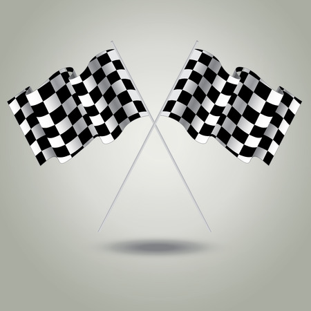 racing checkered flag crossed: Checkered flag for racing. Vector. Two Finish flag with shadow. Race flag. finish illustration. Waving Checkered flag