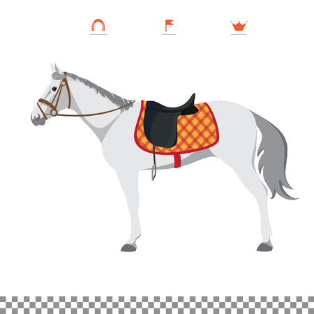 thoroughbred: Derby. Equestrian sport. Illustration of horse. Vector. Thoroughbred horse. The Sport of Kings. Horse with Saddle Illustration