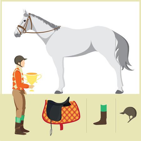 thoroughbred horse: Derby. Deporte ecuestre. Ilustraci�n del vector del caballo. Caballo de pura sangre. El deporte de los reyes. Caballo con jinete y una silla