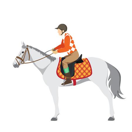 thoroughbred horse: Deporte ecuestre. Ilustraci�n de caballo. Vector. Caballo de pura sangre. El deporte de los reyes. Caballo con jinete. Derby Vectores