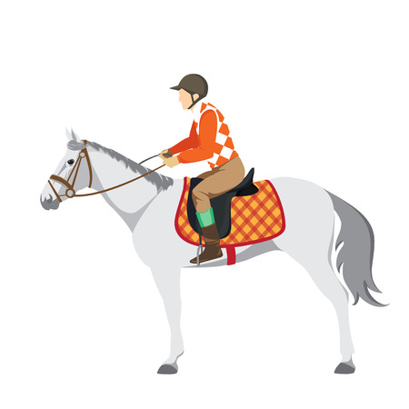Equestrian sport. Illustration of horse. Vector. Thoroughbred horse. The Sport of Kings.  Horse with Horseman. Derby Illustration
