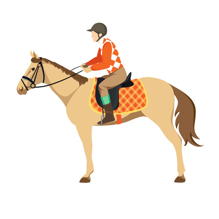 Equestrian sport. Illustration of horse. Vector. Thoroughbred horse. The Sport of Kings. Derby. Horse with Horseman Vector