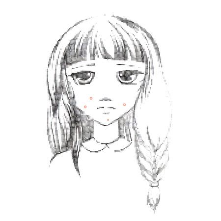 pubertad: Dibujo a mano alzada icono m�dica Acne.Teenage chica con un grano en la mejilla. Acn� com�n. El acn� de un 14-a�os de edad, durante la pubertad. Rub�ola. Erupci�n en la cara y el cuerpo. Eps 8