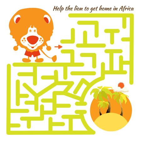 dessin enfants: Dr�le labyrinthe. Aide du lion de rentrer chez eux en Afrique et sortir du labyrinthe. Illustration avec des lignes enchev�tr�es. Personnage de dessin anim� dr�le. Vecteur Rebus. Isol� sur fond blanc