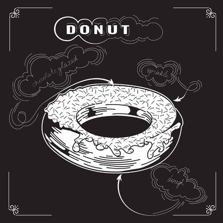 sprinkle: Cute sweet donut. Vector Engraving illustration. Tasty donuts. Delicious donut dessert. Hand drawn poster on chalkboard. Vintage Donuts Banner. With sprinkle. Eps 8