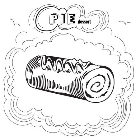 gateau: Cute sweet Pie. Engraving illustration. Tasty Pie. Delicious pie dessert. Isolated on white background. Vintage Pie Poster. Eps 8 Illustration