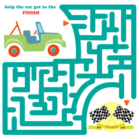 Funny labyrinth. Help the car get to the finish and get out of the maze. Funny cartoon character. Vector Rebus. Isolated on white background Vector