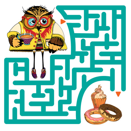 Funny labyrinth. Help the Owl get to baking and get out of the maze. Funny cartoon character. Vector Rebus. Isolated on white background. Eps 8 Illustration