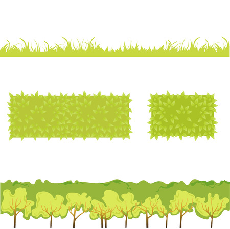 Different Green Grass with bushes. Isolated On White Background. Vector Illustration. Concept  design elements for garden. Spring Garden. Eps 8 Vector