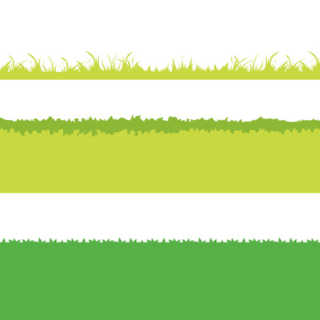 Different Green Grass. Isolated On White Background. Vector Illustration. Cartoon design elements for garden.  Ilustração