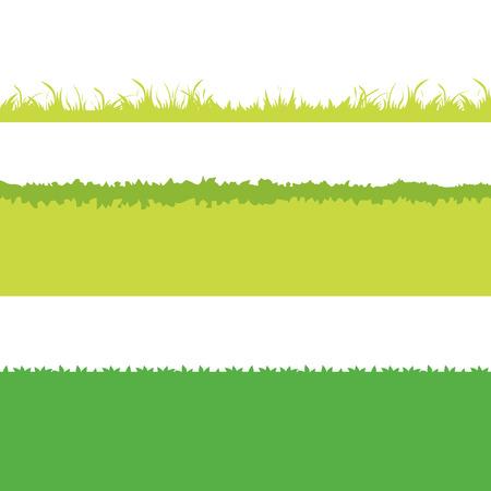 Different Green Grass. Isolated On White Background. Vector Illustration. Cartoon design elements for garden.  Vettoriali