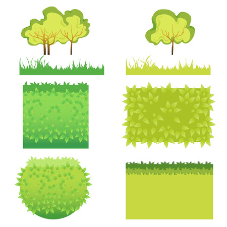 bushes: Green Grass with bushes different colors and shape-02