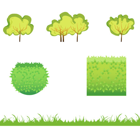 hedge trees: Green Grass with bushes. Isolated On White Background. Grass different shape. Vector Illustration. Concept  design elements for garden. Spring Garden.
