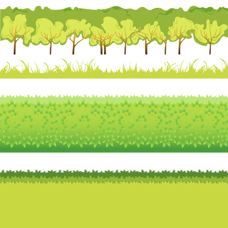 hedge trees: Green Grass with bushes different colors and shape-01 Illustration