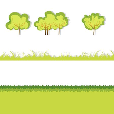 hedge trees: Green Grass with bushes. Isolated On White Background. Grass different shape. Vector Illustration. Concept  design elements for garden. Spring Garden with shadow. Eps 8 Illustration