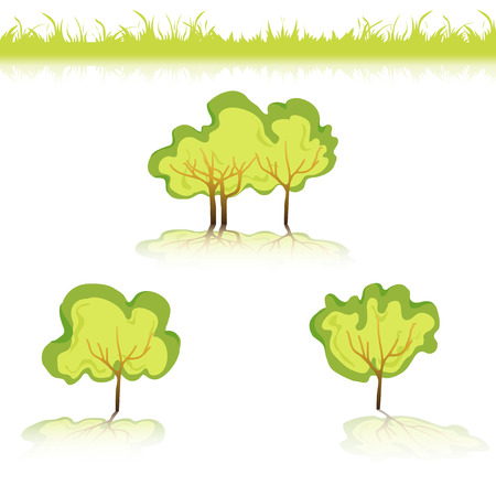 background  grass: Green Grass with bushes. Isolated On White Background. Grass different shape. Vector Illustration. Concept design elements for garden. Spring Garden with shadow-01