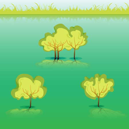 Green Grass with bushes. Isolated On White Background. Grass different shape. Vector Illustration. Concept design elements for garden. Spring Garden with shadow-03 Vector