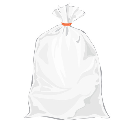 Transparent bag for package design. Vector. Plastic packaging. Blank white bag with place for your design. Sketch style Vector