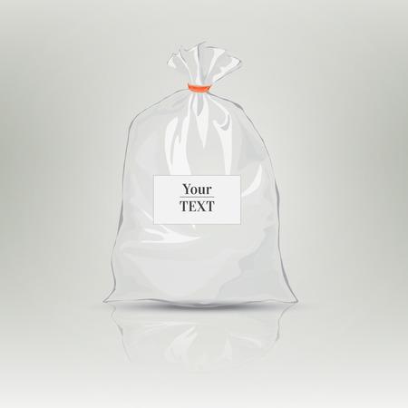Klarsichtbeutel für Verpackungsdesign. Kunststoffverpackungen. Monochrom-Vektor-Illustration. Leere weiße Tasche mit Platz für Ihr Design. Sketch-Stil. Isolierte Hintergrund mit Schatten Standard-Bild - 40210474