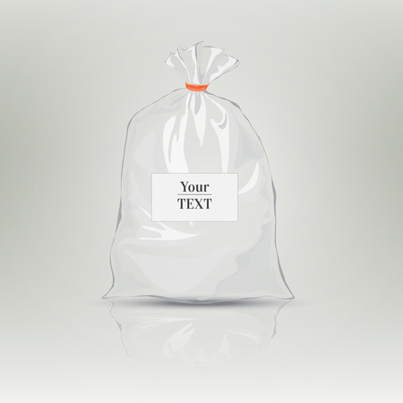 Transparent bag for package design. Plastic packaging. Monochrome vector illustration. Blank white bag with place for your design. Sketch style. Isolated background with shadow