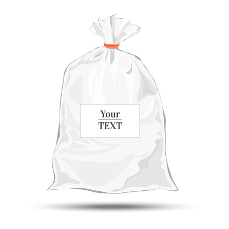 Transparent bag for package design. Plastic packaging. Vector. Blank white bag with place for your design. Sketch style. Isolated background with shadow Vector