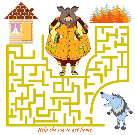 pig out: Funny labyrinth. Help the pig to get home and out of the maze. Funny colorful cartoon character. Vector Rebus. Isolated on white background.
