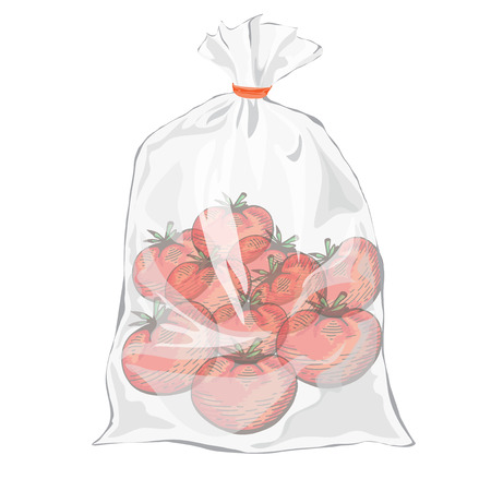 Tomatos. Hand drawing design elements. Plastic packaging for vegetables. Transparent bag for new design. Packaging for food. Colorful image Ilustracja