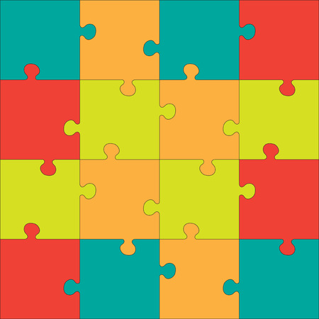 puzzle pieces: Colorful Jigsaw  puzzle. Every piece is a single shape. Seamless puzzle texture. Puzzle template. Cutting guidelines.