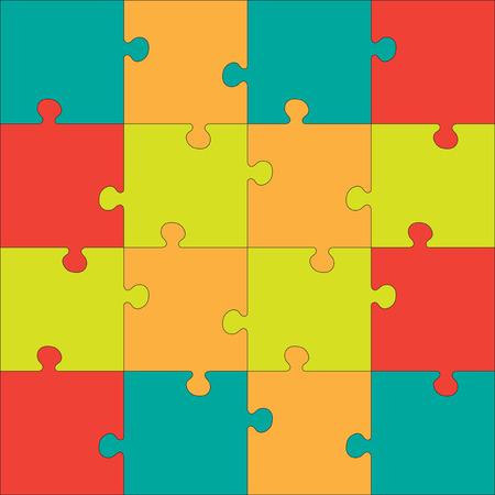 piezas de rompecabezas: Colorido rompecabezas de Jigsaw. Cada pieza es una sola forma. Textura incons�til del rompecabezas. Plantilla de Puzzle. Cortar directrices.