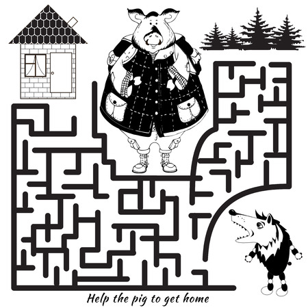 pig out: Funny labyrinth. Help the pig to get home and out of the maze. Funny cartoon character. Vector Rebus. Isolated on white background. Illustration