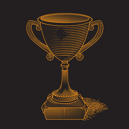 Metallic trophy cup first place winner award. Icon of gold champions cup. Illustration on black background. Vector cup. Hand drawn trophy. Vector