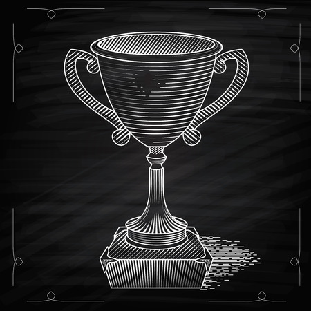trophy: Metallic trophy cup first place winner award. Icon of gold champions cup. Illustration on chalkboard. Vector cup. Hand drawn trophy