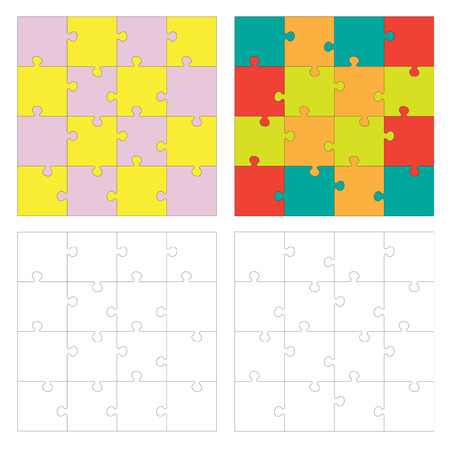 guidelines: Set of Jigsaw puzzle. Every piece is a single shape. Puzzle for kids. Rebus for preschoolers. Cutting guidelines. Puzzle different shape and colors. Eps 8 Illustration