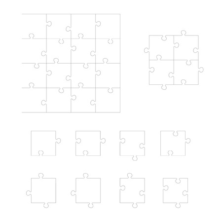 Set of Jigsaw puzzle. Every piece is a single shape. Puzzle for kids. Rebus for preschoolers. Cutting guidelines. Puzzle elements different shape. Eps 8