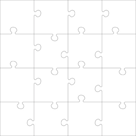 guidelines: White Jigsaw puzzle. Every piece is a single shape. Seamless puzzle texture. Puzzle template. Cutting guidelines. Cut on 16 piece. Eps 8