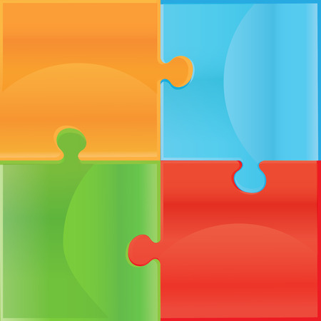 iq: White Jigsaw puzzle. Puzzle template. Cutting guidelines. Design elements for your icon. Every piece is a single shape Illustration